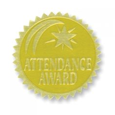 Gold Foil Embossed Seals, Attendance Award, Pack of 54 Bulletin Board Display, Bulletin Boards, Classroom Incentives, Embossed Seal, Teaching Supplies, Student Awards, Family Support, School Themes, Attendance