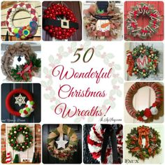 50 Christmas Wreaths Round Up Christmas Tree Wreath, Xmas Wreaths, Christmas Bells, Christmas Love, All Things Christmas, Christmas Holidays, Christmas Ornaments, Christmas Ideas, Christmas Yarn