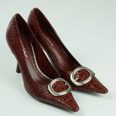 BCBG Girls Red Leather High Heels Size 9 Textured Buckle Toe  #BCBGGirls #Stilettos