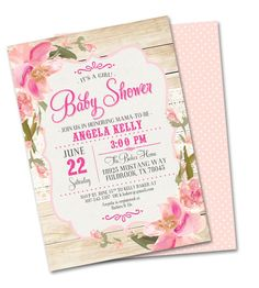 Rustic Baby Shower Invitation Baby Girl Shabby Chic Lace Pink Blush Peach Flowers Sip and See Baby Sprinkle, Any Event by SunshinePrintables on Etsy https://www.etsy.com/listing/227896093/rustic-baby-shower-invitation-baby-girl