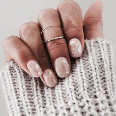 Baby pink nails.