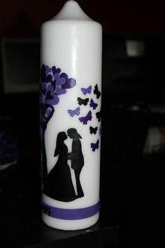 Hochzeitskerze, Gothic, Black Purple, Schwarz Lila, Butterfly, Silhouette, Scherenschnitt