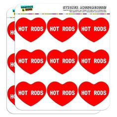 I Love Heart - Sports Hobbies - Hot Rods - 2' Scrapbooking Crafting Stickers