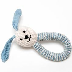 Baby Boy Gifts, newborn baby boy gift ideas.  Organic Bunny Hand Rattle