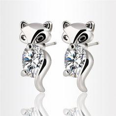 Silver or Gold Zircon Crystal Little Fox Stud Earrings | 18K Gold Plated