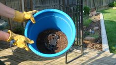 Here is a tip to save money on potting soil for your potted plants in your garden or yard.