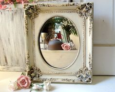 Cream Ornate Mirror, Antique Cream and Gold Vintage Mirror, Shabby Chic, Distressed Mirror, Elegant Detailed Mirror