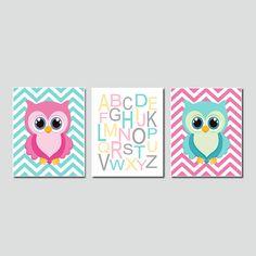 Owl Twins Nursery Art Chevron Alphabet Set by LovelyFaceDesigns,