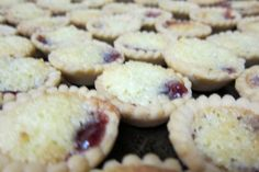 The Best and Easiest Raspberry Coconut Jam Tarts Ever, I use pre made tart shells, Xmas must have in our house:) Tart Recipes, Sweet Recipes, Baking Recipes, Dessert Recipes, Cookie Recipes, Jam Tarts, Holiday Baking, Christmas Baking, Christmas Recipes