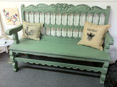 Inspiration. Headboard, Coffee table and arms from an old chair and Voila!