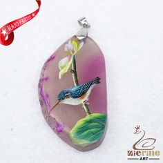 NEW HAND PAINTED BIRD FLOWER AGATE SLICE GEMSTONE NECKLACE PENDANT D1705 0768 #ZL #PENDANT