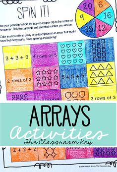 Arrays Activities ($) Fun, no-prep arrays practice for second and third grade, set the foundation for multiplication with these worksheets, actiities, task cards, anchor chart, and assessment