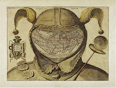 This rather sinister image is one of the biggest mysteries in the history of western cartography. Most often referred to simply as the Fool's Cap Map of the World, it is unknown why, when, where and by whom it was made.     The only thing that can be said about it with some certainty is that it dates from ca. 1580-1590