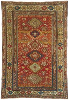 KAZAK, Southern Central Caucasian 4ft 2in x 6ft 1in Circa 1875  http://www.claremontrug.com/antique-oriental-rugs-carpets/