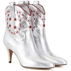 Marc Jacobs Metallic Leather Cowboy Boots ($595) ❤ liked on Polyvore featuring shoes, boots, red western boots, cowgirl boots, marc jacobs boots, red leather boots and metallic boots
