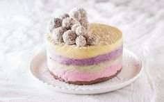 <p>Raspberries, avocados, blueberries, and saffron lend their colors and flavors to the four layers in this show-stopping ice cream cake. Its pastel colors make it look like something out of a fairy tale.</p>