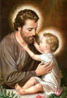 St Joseph and Jesus St Joseph Catholic, Catholic Art, Catholic Saints, Roman Catholic, Religious Art, Religious Pictures, Jesus Pictures, Christian Images, Mary And Jesus