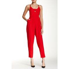 Velvet Torch Jumpsuit ($30) ❤ liked on Polyvore featuring jumpsuits, red, v neck jumpsuit, white jump suit, red jump suit, white sleeveless jumpsuit and white v neck jumpsuit