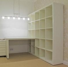 Blum Craft space in basement? Would the Ikea shelf even fit down the stairs? (or take apart & reassemble)Craft space in basement? Would the Ikea shelf even fit down the stairs? (or take apart & reassemble) Expedit Regal, Ikea Expedit, Ikea Shelves, Room Shelves, Kallax 5x5, Kallax Desk, Ikea Cubbies, Kallax Shelving, Sewing Room Organization