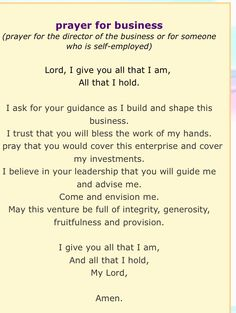 Prayer for new business