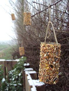 Voor de vogeltjes buiten, t is zo koud, brrrr... Wcrol ingesmeerd met pindakaas, gerold in de vogelzaadjes.