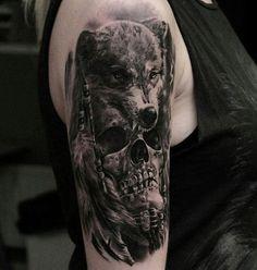 Skull and wolf tattoo - 100 Awesome Skull Tattoo Designs Indian Skull Tattoos, Skull Rose Tattoos, Skull Girl Tattoo, Skull Sleeve Tattoos, Wolf Paw Tattoos, Animal Tattoos, Tattoo Wolf, Tattoo Arm, Trendy Tattoos