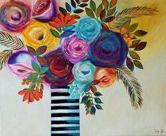 Rosadas, tela em acrílica medindo 130x110. Artist Raq Piffer