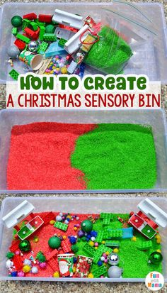 Christmas Sensory Bin - Fun with Mama #sensorybins #sensoryplay #homeschool