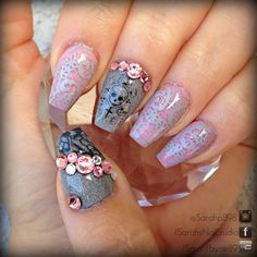 girly lace and skull nails