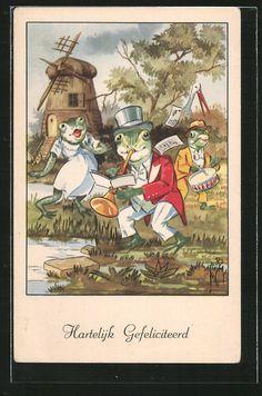 Alte Ansichtskarte: Künstler-AK Froschkonzert am Tümpel mit Windmühle, Trompete und Trommel