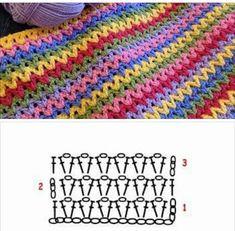 Usei esse ponto para uma necessaire, ficou linda! Clique e confira... Granny Square Crochet Pattern, Crochet Flower Patterns, Crochet Diagram, Crochet Stitches Patterns, Crochet Chart, Crochet Motif, Crochet Designs, Free Crochet, Stitch Patterns