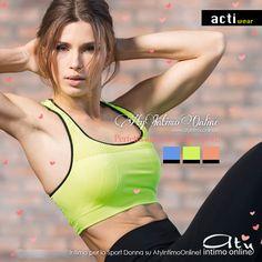 Intimo Sportivo! Scopri un mondo di colori con la nuova collezione made in Italy Actiwear! Cobalto, Giallo e Pesca per il reggiseno sportivo in tessuto doppiato che grazie alle sue speciali caratteristiche diventa un capo irrinunciabile durante l'attività fisica! #sport #fitness #stile #reggiseno #donna #color