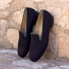 Handcrafted Custom Made Wellington Slippers in Navy Blue Flannel and Forest Green Suede From Robert August. Create your own custom designed shoes. Custom Made Shoes, Custom Design Shoes, Formal Men Outfit, Fashion Shoes, Mens Fashion, Men's Shoes, Shoes Men, Green Suede, Oxford Shoes