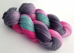 Hand Dyed Yarn  Winter Bloom  Sparkle DK  by YarnLoftbyJulia, $28.00