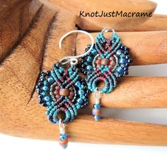 I kind of love these... Raku Colors Lacey Beaded Macrame Earrings by KnotJustMacrame, $23.99