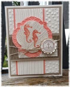 Stampin' Up! ... handmade card from The Serene Stamper ... sea horses on a layered label ... vanilla with coral and kraft ... three different textures from embossing folders ... layers and twine ... great card!