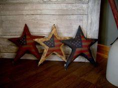 3 Large Primitive Americana Summer Flag Stars. by needlinaround