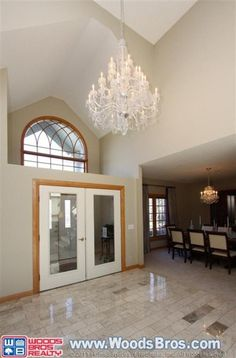 Grand entry with chandelier