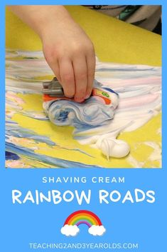 This rainbow art activity is all about the process as toy cars are driving through colored shaving cream. A hands-on lesson on color mixing! Educational Activities For Preschoolers, Preschool Arts And Crafts, Preschool Colors, Daycare Crafts, Indoor Activities For Kids, Spring Activities, Sensory Activities, Toddler Activities, Family Activities