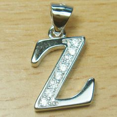 Micro Setting Brilliant Cut White CZ 925 Sterling Silver Initial Letter Z Pendant Initial Pendant, Initial Letters, Initials, Lettering, Sterling Silver, Drawing Letters, Letters, Character, Texting