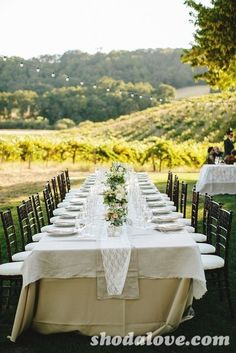 Table settings at a Wine Country Rustic Wedding