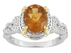 2.04ct Oval Golden Citrine With .03ctw Round Diamond Sterling Silver And 14k Gold Over Silver Ring.
