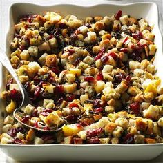 Apple-Cranberry Stuffing Recipe- Recipes  I leave out the giblets my mom used in stuffing and bump up the apples, wild rice and cranberries instead. —Miranda Allison, Simpsonville, SC