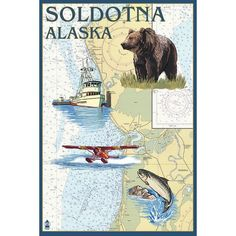 Soldotna, AK - Nautical Chart - LP Artwork (Acrylic Wall Clock), Black (Plastic)