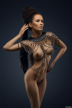 With chain women nude belly