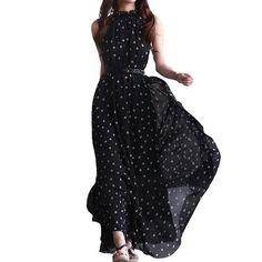 Outop Womens Polka Dots Maxi Long Casual Summer Beach Party Chiffon Dress (Black)  #SummerBeachDress #ChiffonDress