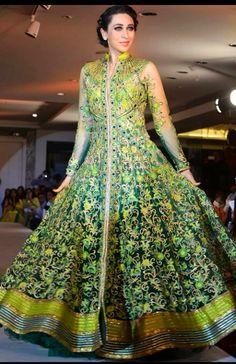 Indian Dress- beautiful green Anarkali lengha! #indianlehenga #bridallehngacholi #bridalweddinglehenga