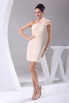 Elegant one shoulder pleated chiffon sheath line bridesmaid dress