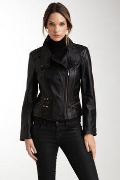 Kenneth Cole Leather Copper Trim Scuba Jacket