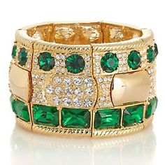 Universal Vault Emerald-Color Stone and Clear Crystal Goldtone Stretch Bracelet at HSN.com.